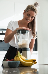 Girl making smoothie