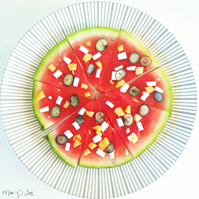 Watermelone pizza snack feta peach blueberry Healthy Lunch dessert Breakfast Snack Fruit