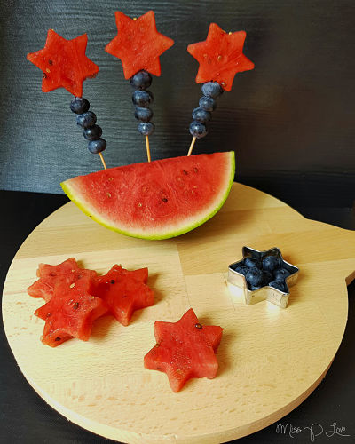 Watermelon bite stars Healthy Lunch dessert Breakfast blueberry