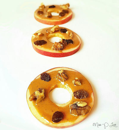 Apple donuts peanutbutter raisins walnut Healthy Lunch dessert Breakfast snack