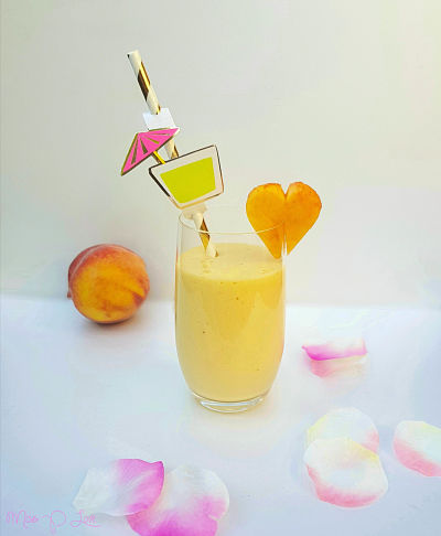 Summer Smoothie Mango Peach Almondmilk Protein Healthy Lunch dessert Breakfast drink